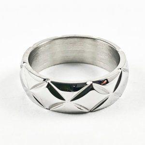 Nice X Accents Shiny Metallic Eternity Steel Ring